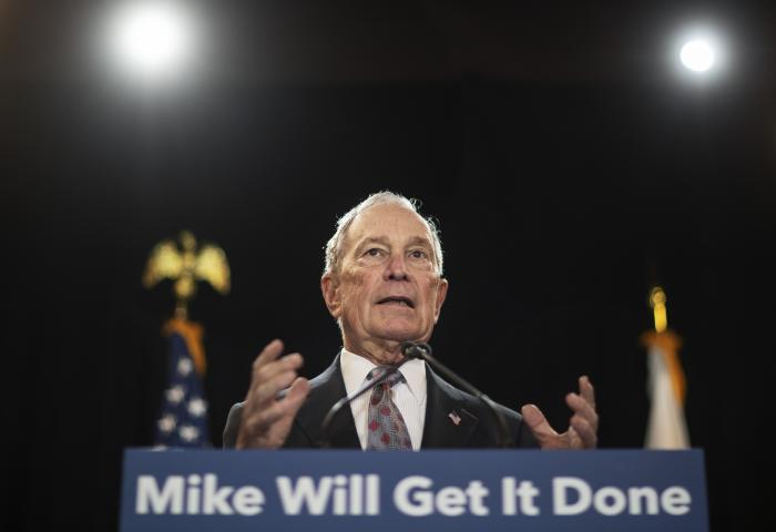 Then-Democratic presidential candidate and former New York City Mayor Michael Bloomberg speaks at a campaign event in Providence, R.I.