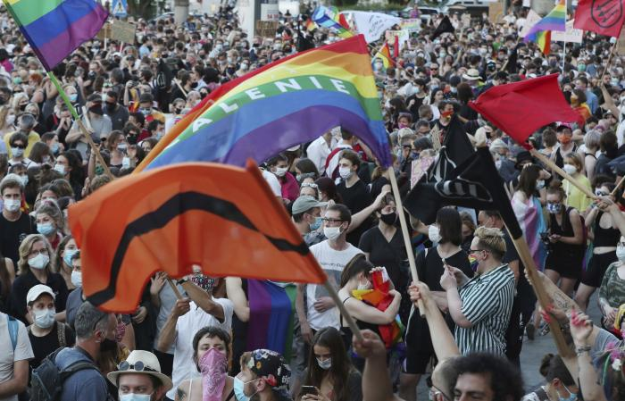 LGBT rights supporters protest against rising homophobia in Warsaw, Poland.