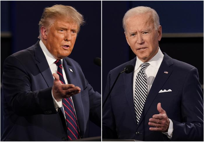President Donald Trump, left, and former Vice President Joe Biden during the first presidential debate at Case Western University and Cleveland Clinic, in Cleveland, Ohio.