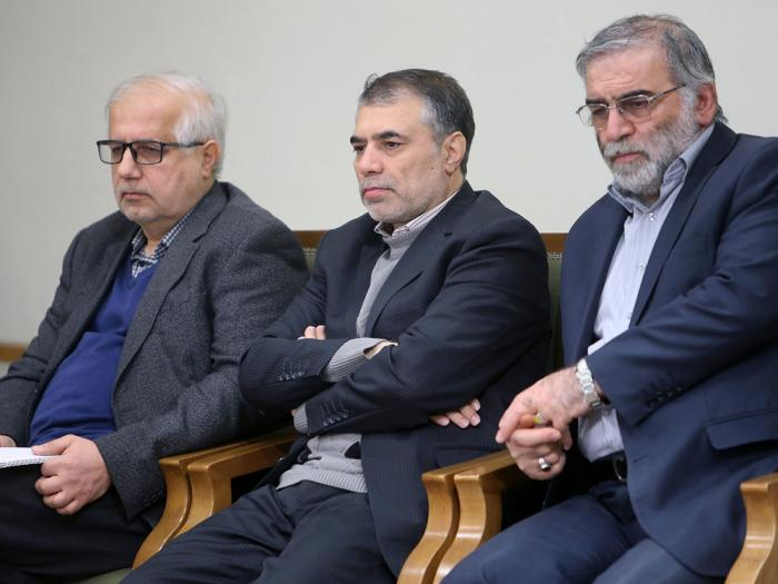 In this picture released by the official website of the office of the Iranian supreme leader, Mohsen Fakhrizadeh, right, sits in a meeting with Supreme Leader Ayatollah Ali Khamenei in Tehran, Iran, Jan. 23, 2019