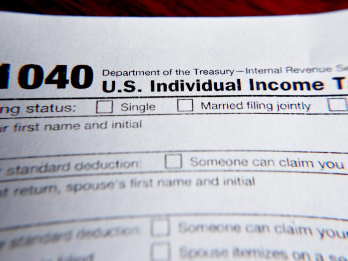 This Wednesday, Feb. 13, 2019 file photo shows part of a 1040 federal tax form printed from the Internal Revenue Service website, in Zelienople, Pa.