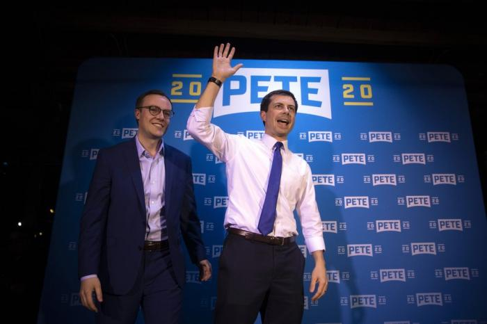 Chasten (left) and Pete Buttigieg at a May 9, 2019 campaign event