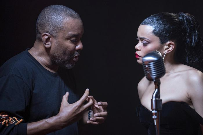 "Director Lee Daniels, left, with Andra Day on the set of ""The United States vs. Billie Holiday."""