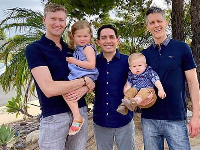 (left-to-right) Jeremy Allen Hodges, Alan Mayfield, and Ian Jenkins, and their children Piper, 3, and Parker, 15 months