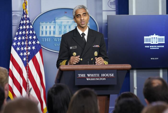 In this Thursday, July 15, 2021 file photo, Surgeon General Dr. Vivek Murthy speaks during the daily briefing at the White House in Washington