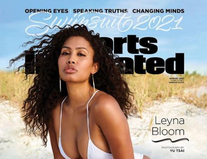Model Leyna Bloom covering Sports Illustrated's annual swimsuit issue.