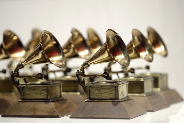 Various Grammy Awards are displayed at the Grammy Museum Experience at Prudential Center in Newark, N.J.