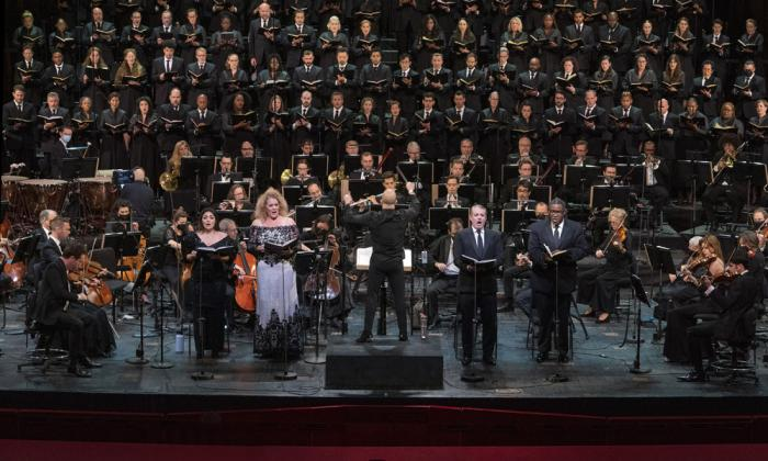 This photo provided by The Metropolitan Opera shows a rehearsal for Verdi Requiem on Thursday, Sept. 9, 2021 at The Metropolitan Opera in New York